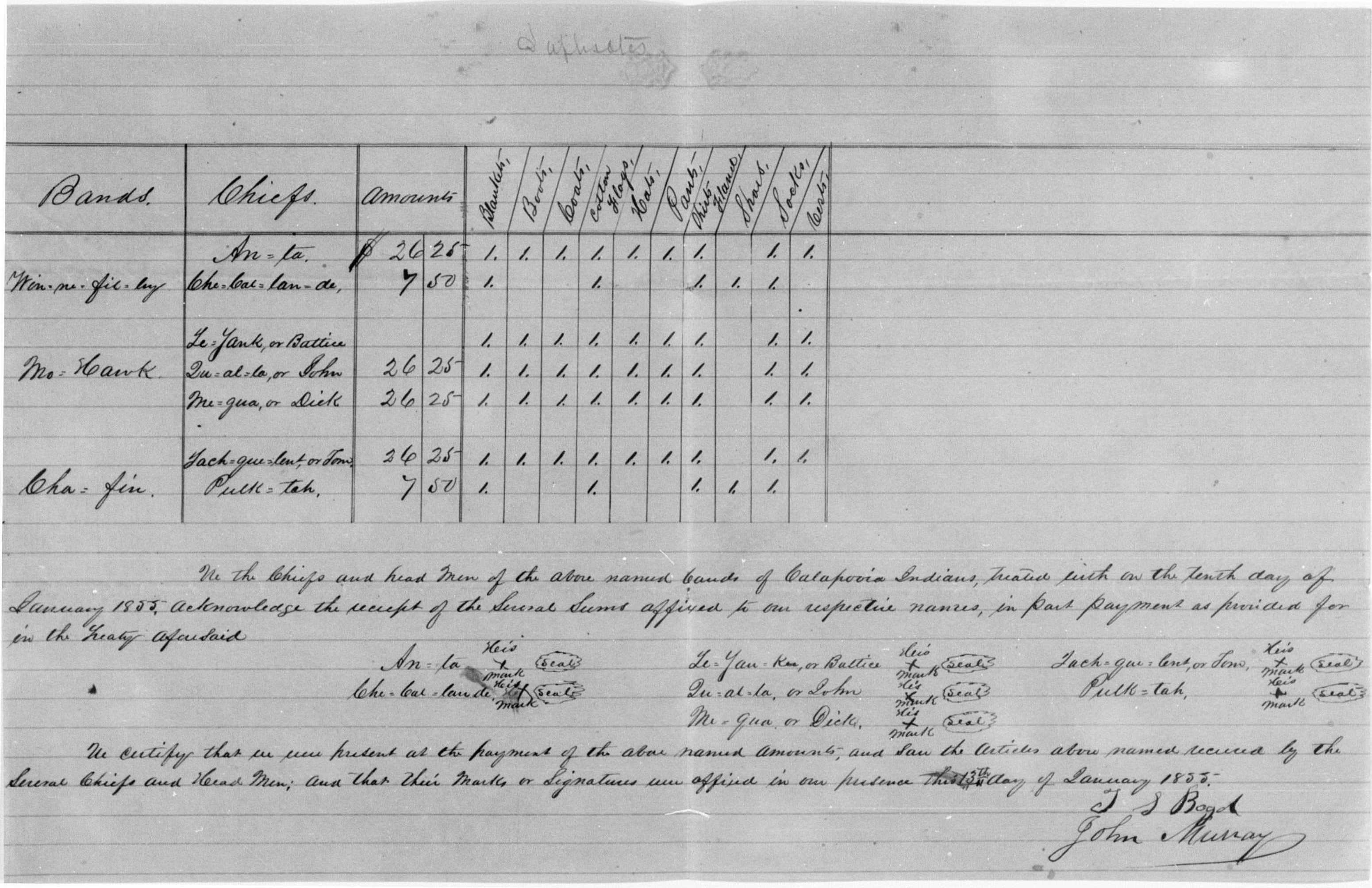 Calapooia Indian clothing invoice 1855